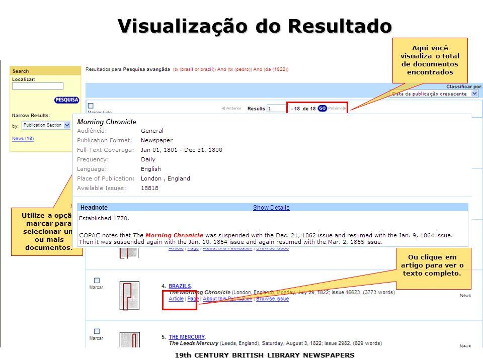 Utilize a opção marcar para selecionar um ou mais documentos.