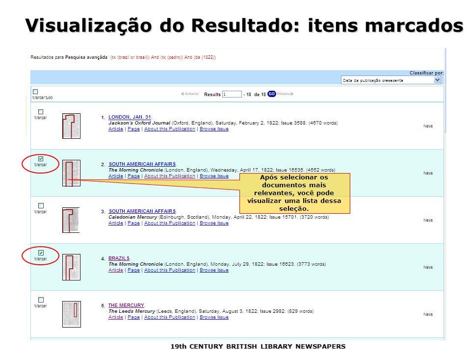 Visualização do Resultado: itens marcados Após selecionar os documentos mais relevantes, você pode visualizar uma lista dessa seleção.