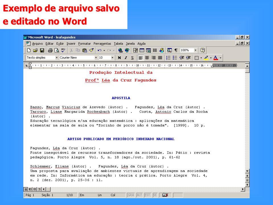 Exemplo de arquivo salvo e editado no Word