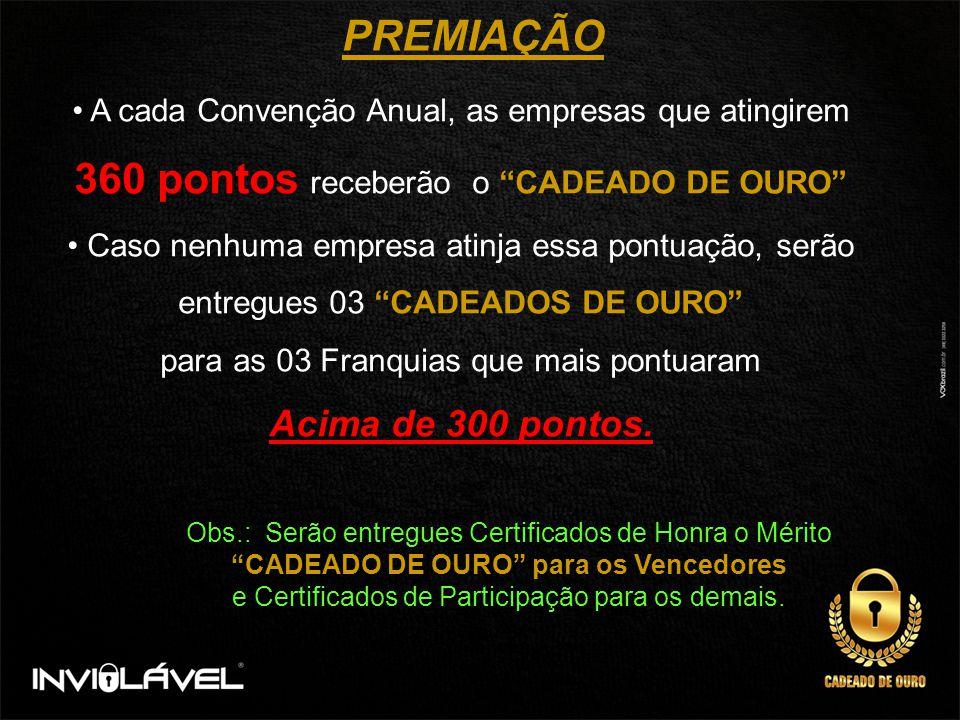 PREMIAÇÃO O Franqueado que obtiver 5 (cinco) CADEADOS DE OURO, terá como Prêmio Adicional UM VEICULO Básico de 1.000 cilindradas.