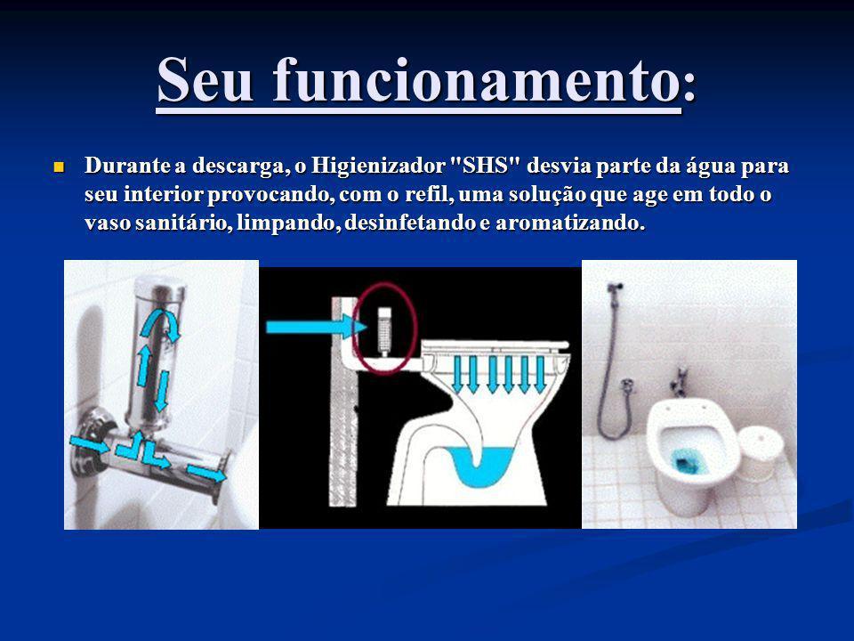 Seu funcionamento : Durante a descarga, o Higienizador