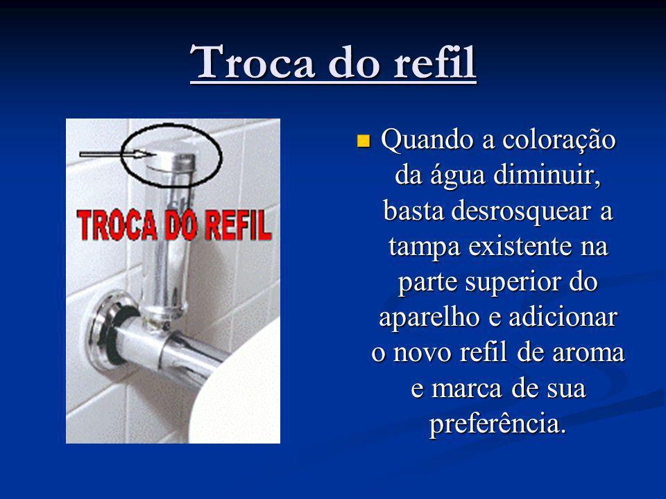 Troca do refil Quando a coloração da água diminuir, basta desrosquear a tampa existente na parte superior do aparelho e adicionar o novo refil de arom