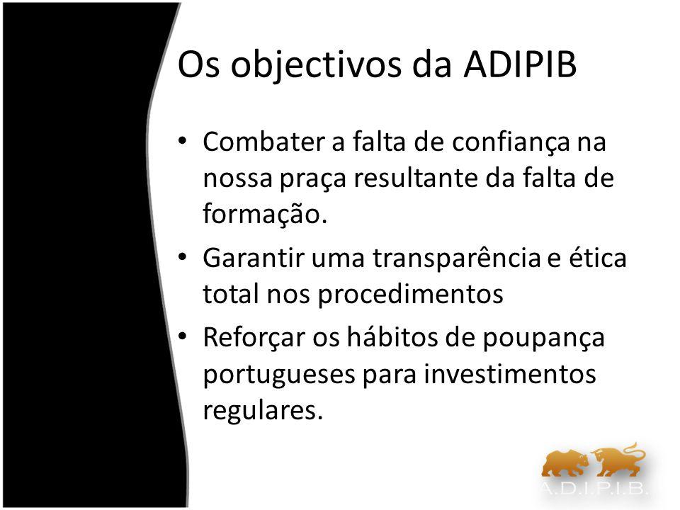 Os objectivos da ADIPIB Combater a falta de confiança na nossa praça resultante da falta de formação. Garantir uma transparência e ética total nos pro