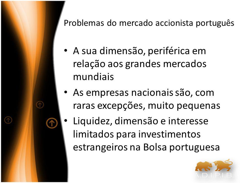 Problemas do mercado accionista português Estrutura accionista Empresas são controladas por accionistas que detêm a maioria do seu capital O que limita a capacidade de termos outros accionistas (nacionais ou estrangeiros) que olhem para estas como investimentos de longo prazo