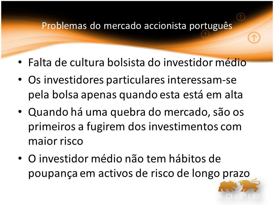 Problemas do mercado accionista português As próprias empresas não têm formação suficiente para saberem como se devem posicionar em bolsa e garantir a todo o tempo que a informação relevante esteja disponível As pessoas com frequência encaram o investimento em bolsa como uma ida ao casino