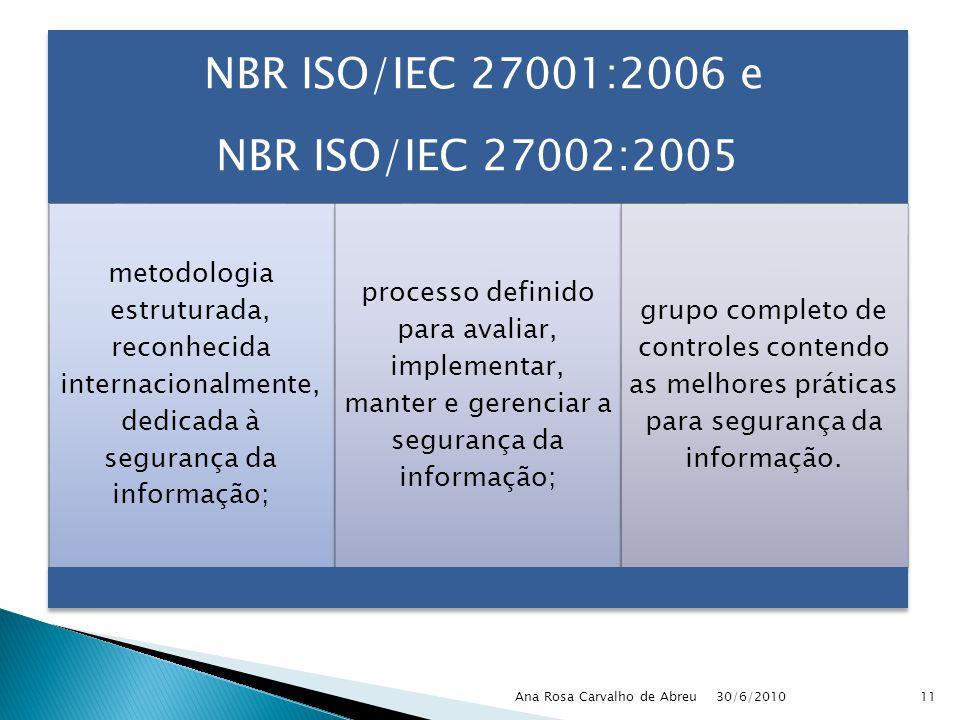30/6/2010 Ana Rosa Carvalho de Abreu11 NBR ISO/IEC 27001:2006 e NBR ISO/IEC 27002:2005 metodologia estruturada, reconhecida internacionalmente, dedica