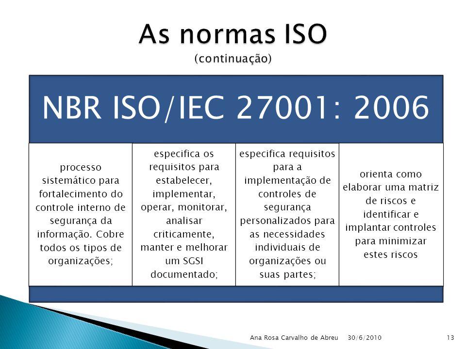 30/6/2010 Ana Rosa Carvalho de Abreu13 NBR ISO/IEC 27001: 2006 processo sistemático para fortalecimento do controle interno de segurança da informação