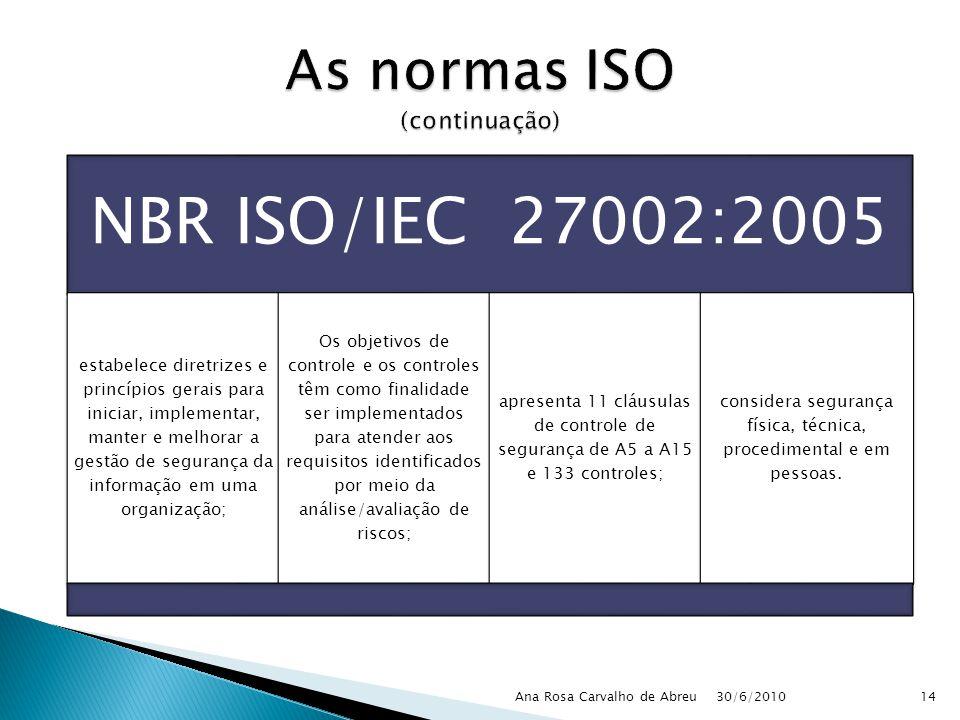 30/6/2010 Ana Rosa Carvalho de Abreu14 NBR ISO/IEC 27002:2005 estabelece diretrizes e princípios gerais para iniciar, implementar, manter e melhorar a