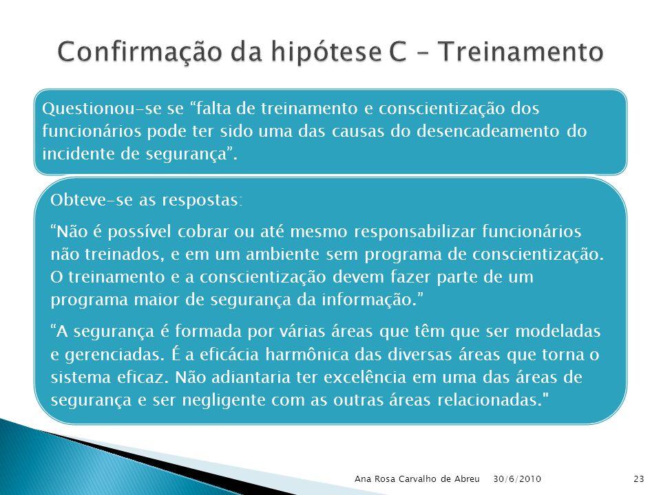 30/6/2010 Ana Rosa Carvalho de Abreu23 Questionou-se se falta de treinamento e conscientização dos funcionários pode ter sido uma das causas do desenc