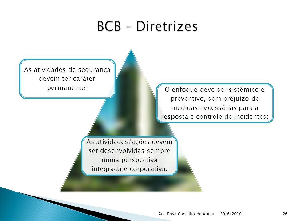 30/6/2010 Ana Rosa Carvalho de Abreu26 As atividades de segurança devem ter caráter permanente; O enfoque deve ser sistêmico e preventivo, sem prejuíz