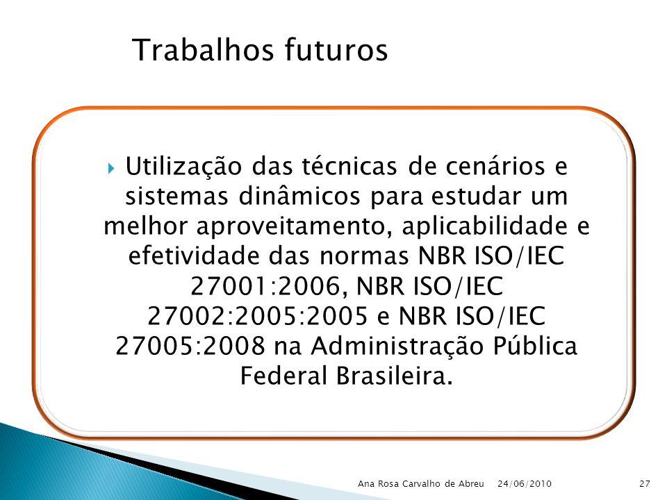 24/06/2010 Ana Rosa Carvalho de Abreu27 Utilização das técnicas de cenários e sistemas dinâmicos para estudar um melhor aproveitamento, aplicabilidade