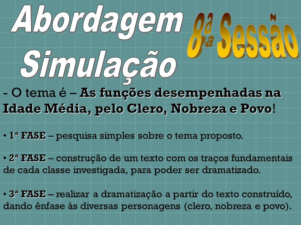 - O tema é – As funções desempenhadas na Idade Média, pelo Clero, Nobreza e Povo Povo.