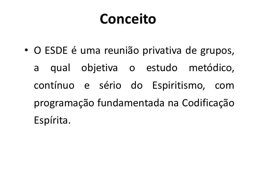 Conceito O ESDE é uma reunião privativa de grupos, a qual objetiva o estudo metódico, contínuo e sério do Espiritismo, com programação fundamentada na