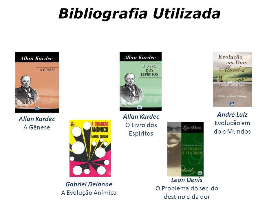Bibliografia Utilizada Allan Kardec A Gênese Allan Kardec O Livro dos Espíritos André Luiz Evolução em dois Mundos Gabriel Delanne A Evolução Anímica