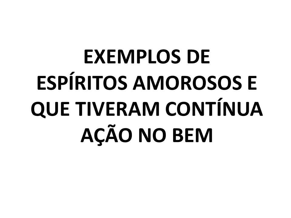 EXEMPLOS DE ESPÍRITOS AMOROSOS E QUE TIVERAM CONTÍNUA AÇÃO NO BEM