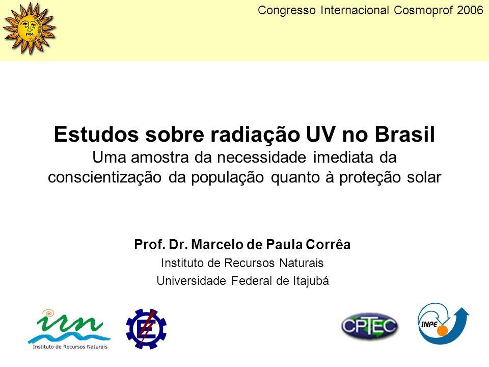 Estudos sobre radiação UV no Brasil Uma amostra da necessidade imediata da conscientização da população quanto à proteção solar Prof. Dr. Marcelo de P