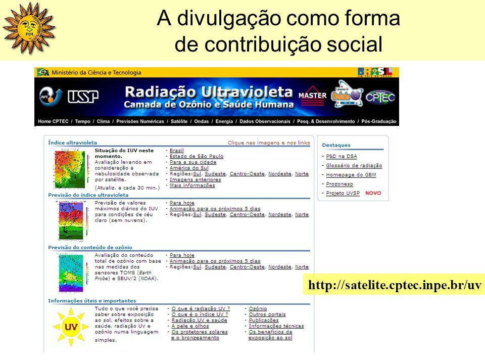 A divulgação como forma de contribuição social http://satelite.cptec.inpe.br/uv