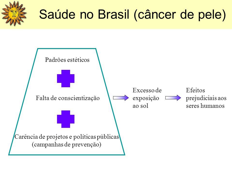 Saúde no Brasil (câncer de pele) Efeitos prejudiciais aos seres humanos Excesso de exposição ao sol Carência de projetos e políticas públicas (campanh