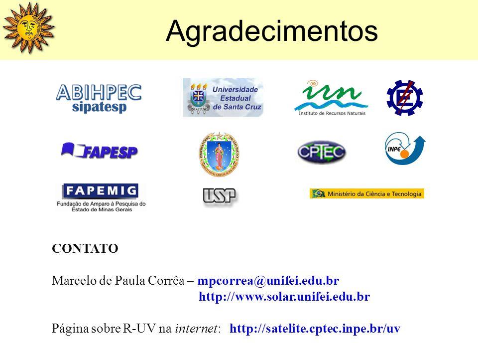 Agradecimentos CONTATO Marcelo de Paula Corrêa – mpcorrea@unifei.edu.br http://www.solar.unifei.edu.br Página sobre R-UV na internet: http://satelite.