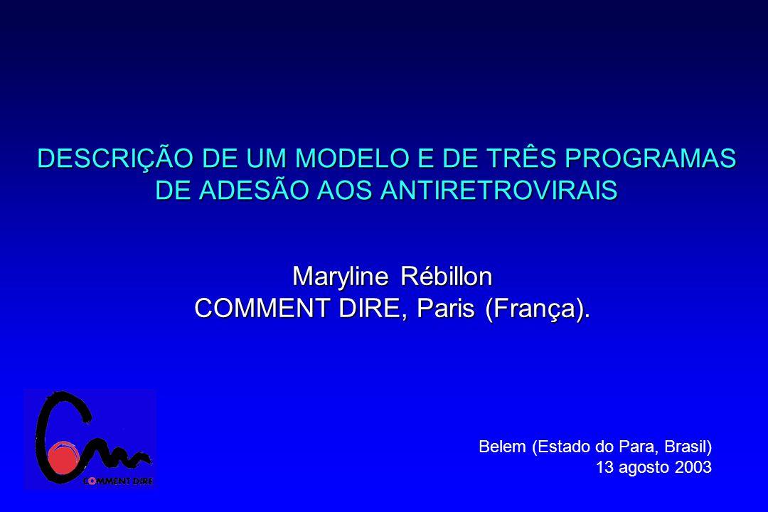 DESCRIÇÃO DE UM MODELO E DE TRÊS PROGRAMAS DE ADESÃO AOS ANTIRETROVIRAIS Maryline Rébillon COMMENT DIRE, Paris (França).