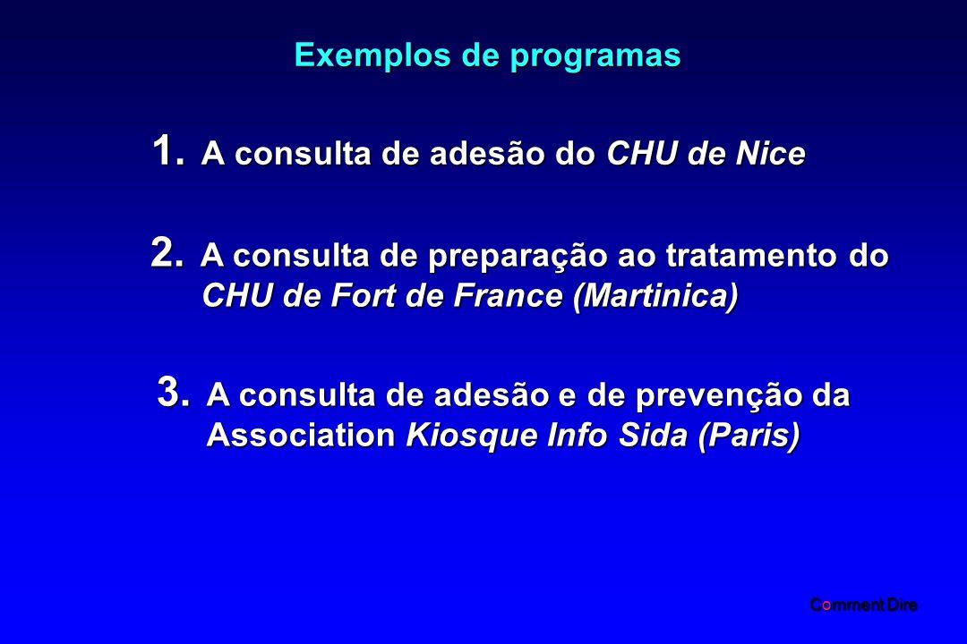 Exemplos de programas 1.A consulta de adesão do CHU de Nice 2.