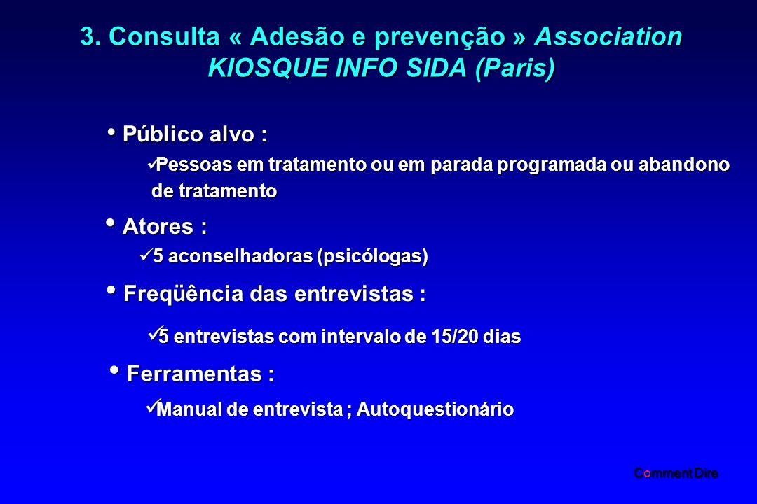 3. Consulta « Adesão e prevenção » Association KIOSQUE INFO SIDA (Paris) Público alvo : Público alvo : Pessoas em tratamento ou em parada programada o