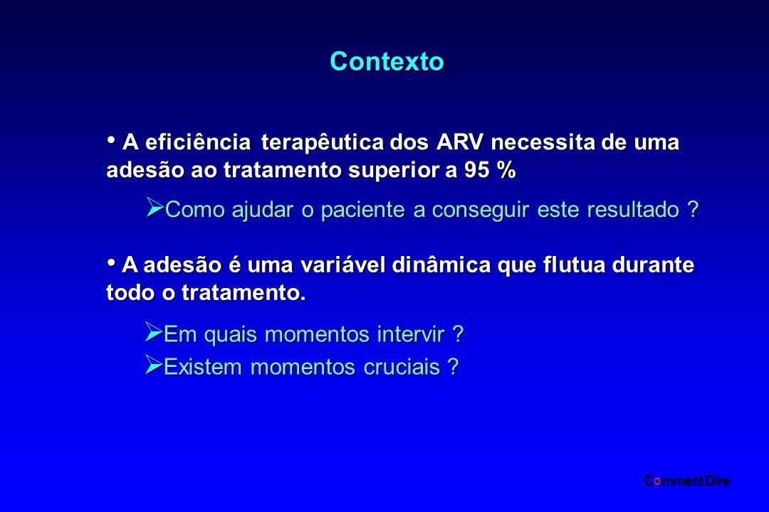 Contexto A eficiência terapêutica dos ARV necessita de uma adesão ao tratamento superior a 95 % A eficiência terapêutica dos ARV necessita de uma adesão ao tratamento superior a 95 % Como ajudar o paciente a conseguir este resultado .