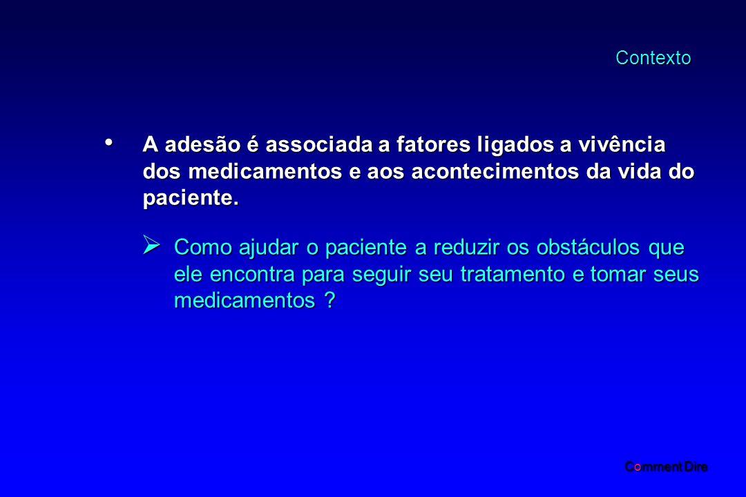 Contexto A adesão é associada a fatores ligados a vivência dos medicamentos e aos acontecimentos da vida do paciente.