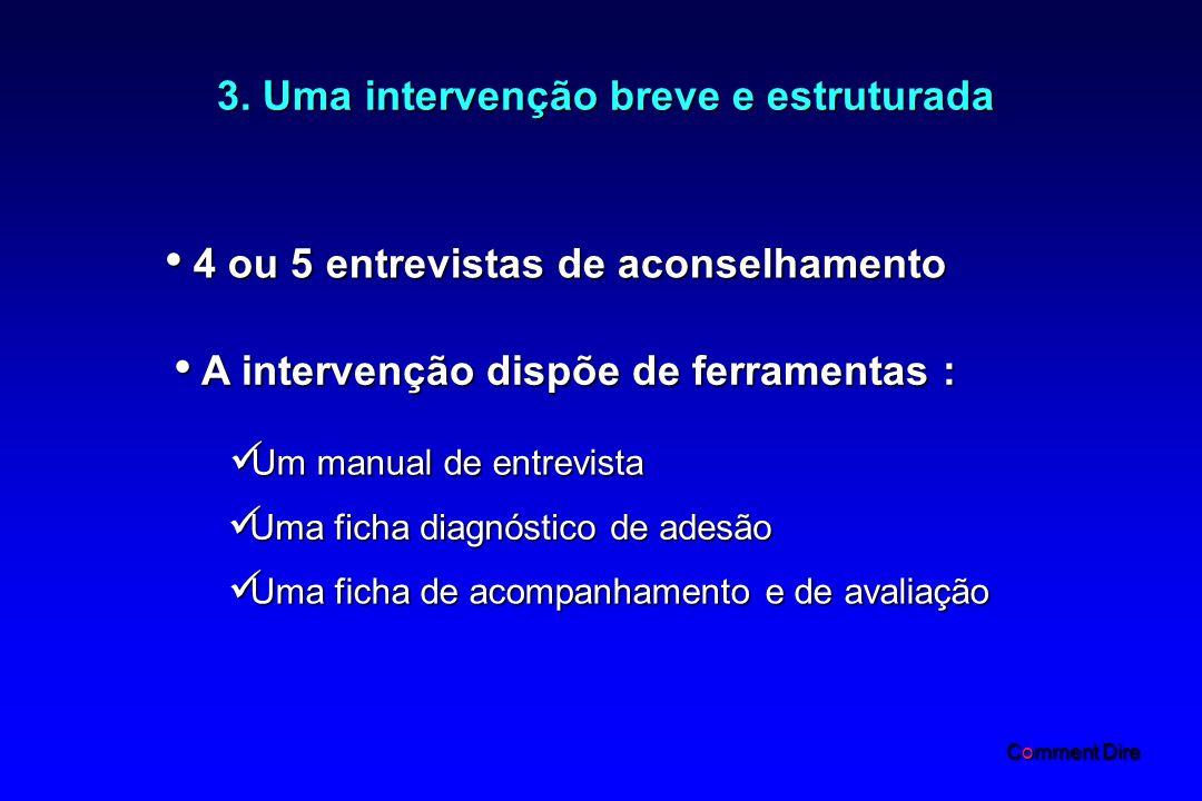 3. Uma intervenção breve e estruturada 4 ou 5 entrevistas de aconselhamento 4 ou 5 entrevistas de aconselhamento A intervenção dispõe de ferramentas :
