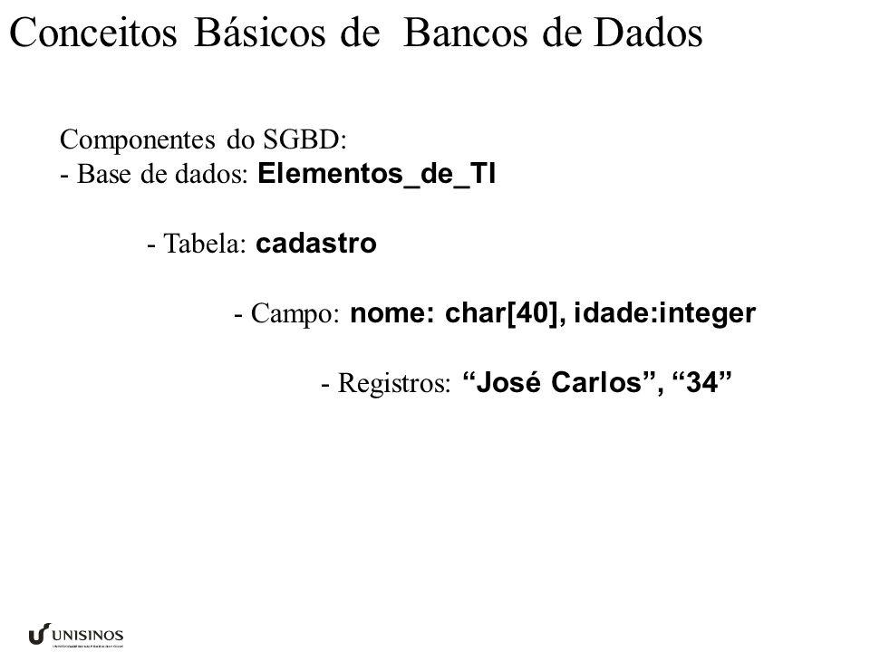 Conceitos Básicos de Bancos de Dados Componentes do SGBD: - Base de dados: Elementos_de_TI - Tabela: cadastro - Campo: nome: char[40], idade:integer -
