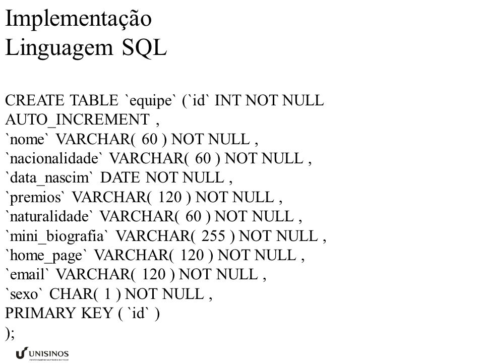 Implementação Linguagem SQL CREATE TABLE `equipe` (`id` INT NOT NULL AUTO_INCREMENT, `nome` VARCHAR( 60 ) NOT NULL, `nacionalidade` VARCHAR( 60 ) NOT