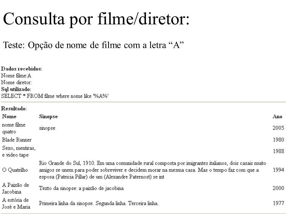 Consulta por filme/diretor: Teste: Opção de nome de filme com a letra A