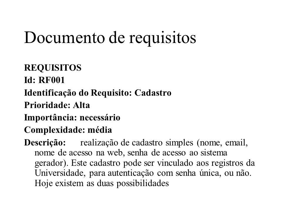 Documento de requisitos REQUISITOS Id: RF001 Identificação do Requisito: Cadastro Prioridade: Alta Importância: necessário Complexidade: média Descriç