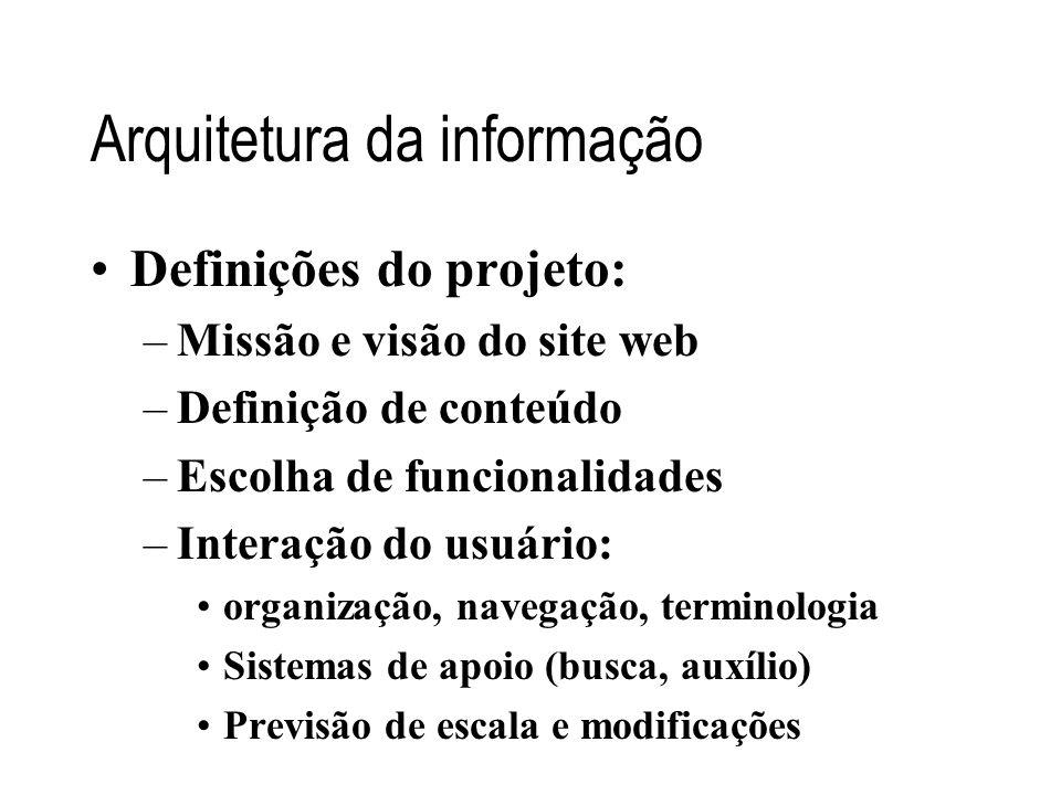 Arquitetura da informação Definições do projeto: –Missão e visão do site web –Definição de conteúdo –Escolha de funcionalidades –Interação do usuário: