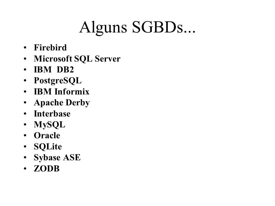 Alguns SGBDs... Firebird Microsoft SQL Server IBM DB2 PostgreSQL IBM Informix Apache Derby Interbase MySQL Oracle SQLite Sybase ASE ZODB