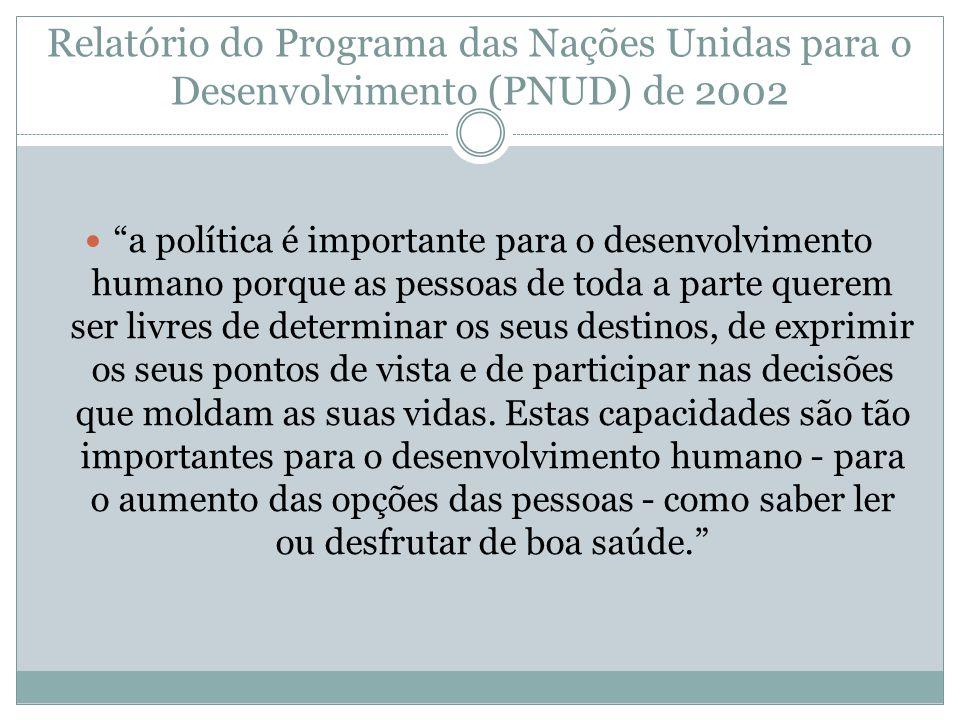 Relatório do Programa das Nações Unidas para o Desenvolvimento (PNUD) de 2002 a política é importante para o desenvolvimento humano porque as pessoas