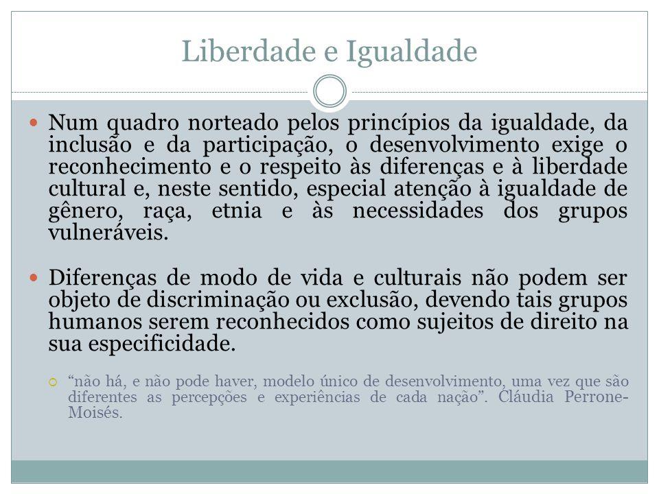 Liberdade e Igualdade Num quadro norteado pelos princípios da igualdade, da inclusão e da participação, o desenvolvimento exige o reconhecimento e o r