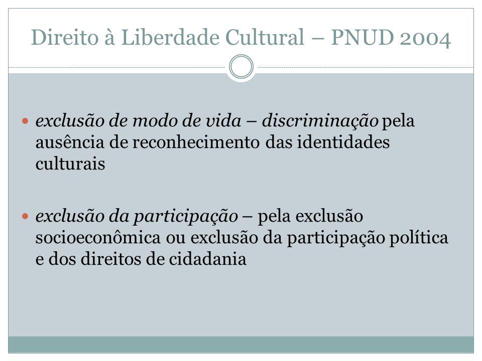 Direito à Liberdade Cultural – PNUD 2004 exclusão de modo de vida – discriminação pela ausência de reconhecimento das identidades culturais exclusão d