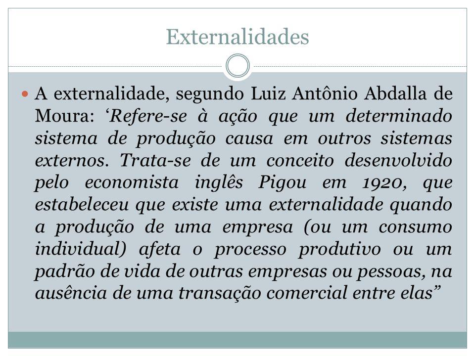 Externalidades A externalidade, segundo Luiz Antônio Abdalla de Moura: Refere-se à ação que um determinado sistema de produção causa em outros sistema
