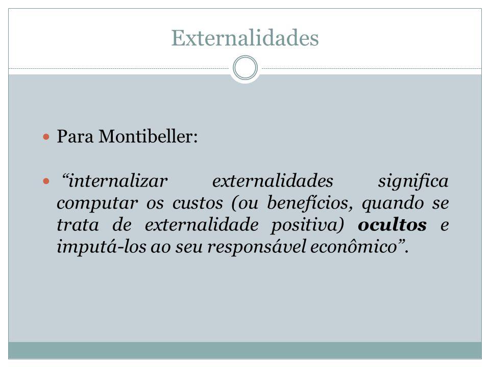 Externalidades Para Montibeller: internalizar externalidades significa computar os custos (ou benefícios, quando se trata de externalidade positiva) o