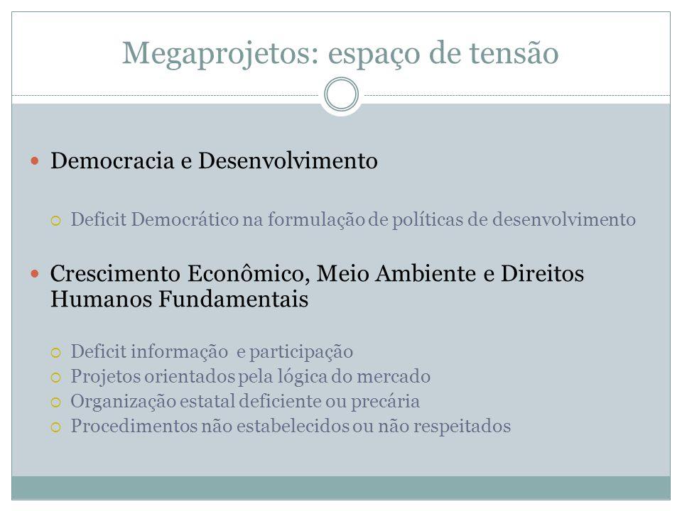 Megaprojetos: espaço de tensão Democracia e Desenvolvimento Deficit Democrático na formulação de políticas de desenvolvimento Crescimento Econômico, M