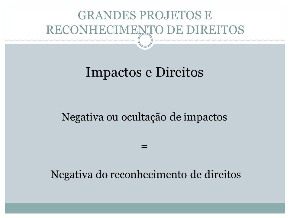 GRANDES PROJETOS E RECONHECIMENTO DE DIREITOS Impactos e Direitos Negativa ou ocultação de impactos = Negativa do reconhecimento de direitos