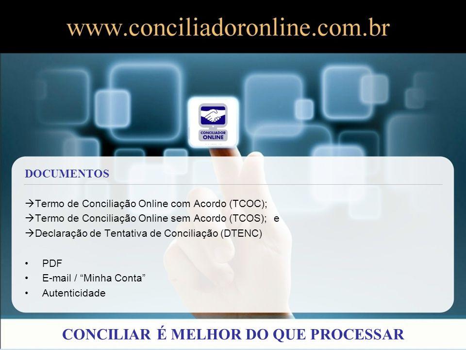 Termo de Conciliação Online com Acordo (TCOC); Termo de Conciliação Online sem Acordo (TCOS); e Declaração de Tentativa de Conciliação (DTENC) PDF E-m
