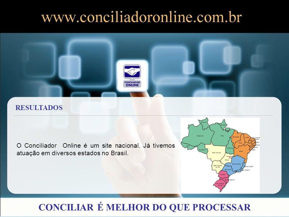 O Conciliador Online é um site nacional. Já tivemos atuação em diversos estados no Brasil. RESULTADOS CONCILIAR É MELHOR DO QUE PROCESSAR