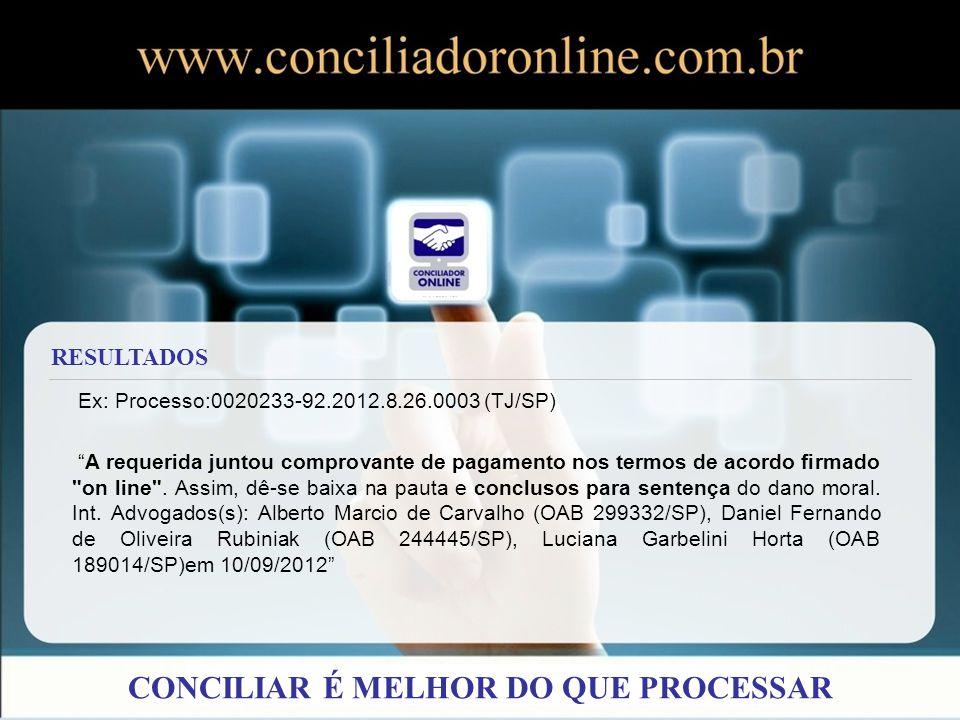 Ex: Processo:0020233-92.2012.8.26.0003 (TJ/SP) A requerida juntou comprovante de pagamento nos termos de acordo firmado