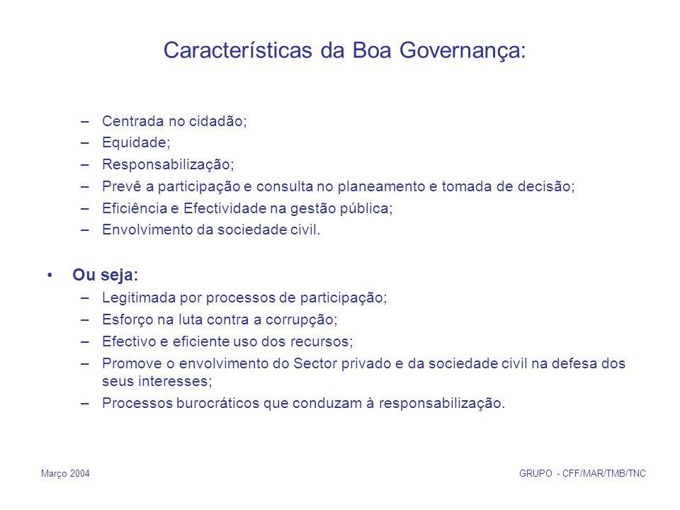 Março 2004 GRUPO - CFF/MAR/TMB/TNC Características da Boa Governança: –Centrada no cidadão; –Equidade; –Responsabilização; –Prevê a participação e consulta no planeamento e tomada de decisão; –Eficiência e Efectividade na gestão pública; –Envolvimento da sociedade civil.