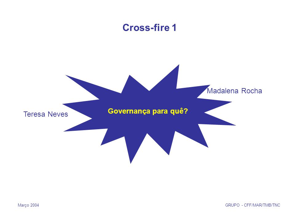 Março 2004 GRUPO - CFF/MAR/TMB/TNC Governança para quê Cross-fire 1 Madalena Rocha Teresa Neves