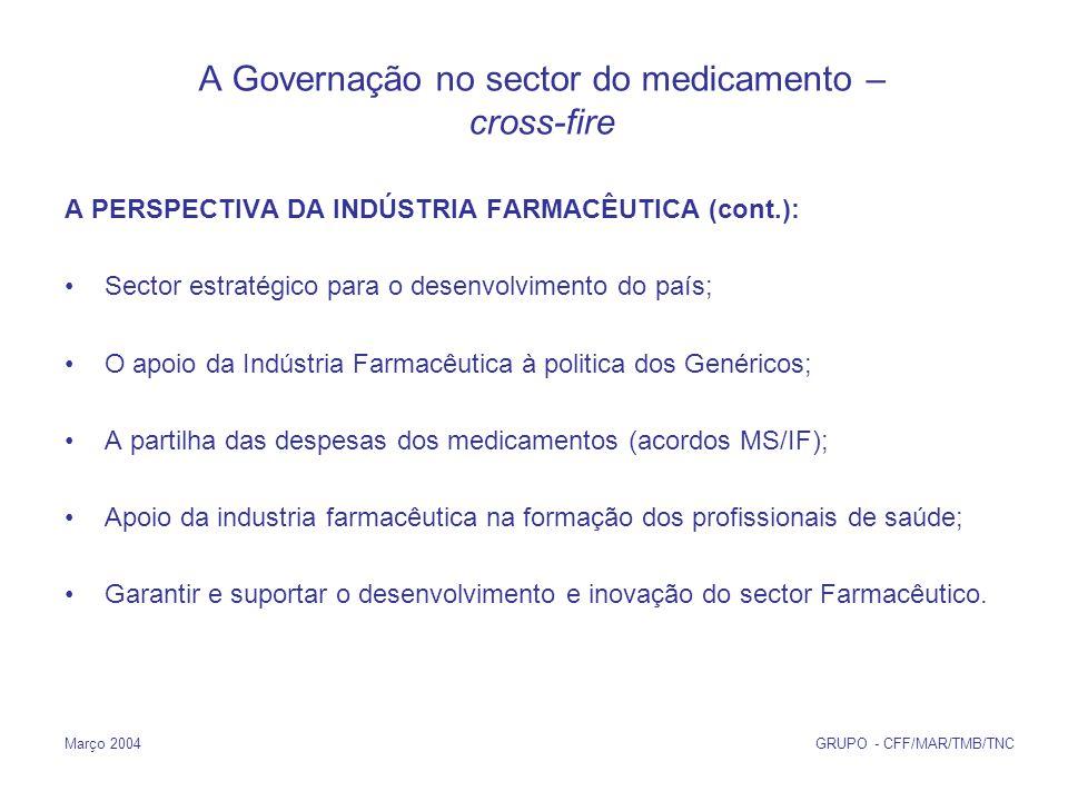Março 2004 GRUPO - CFF/MAR/TMB/TNC A PERSPECTIVA DA INDÚSTRIA FARMACÊUTICA (cont.): Sector estratégico para o desenvolvimento do país; O apoio da Indústria Farmacêutica à politica dos Genéricos; A partilha das despesas dos medicamentos (acordos MS/IF); Apoio da industria farmacêutica na formação dos profissionais de saúde; Garantir e suportar o desenvolvimento e inovação do sector Farmacêutico.