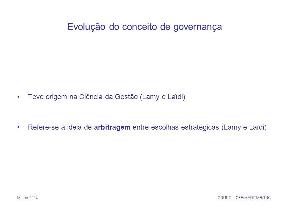 Março 2004 GRUPO - CFF/MAR/TMB/TNC Evolução do conceito de governança Teve origem na Ciência da Gestão (Lamy e Laïdi) Refere-se à ideia de arbitragem entre escolhas estratégicas (Lamy e Laïdi)