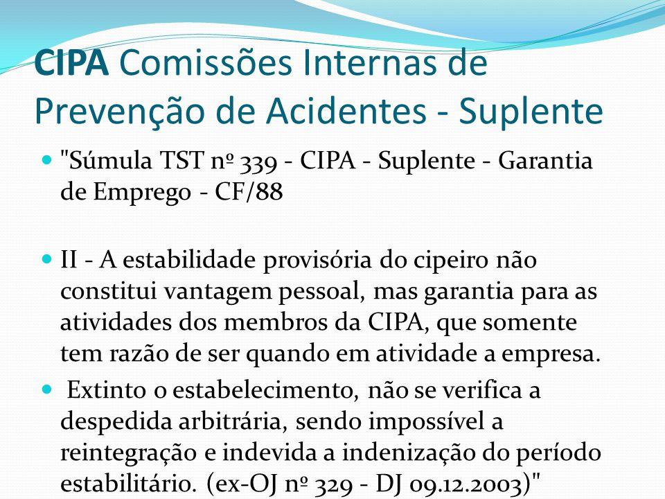 CIPA Comissões Internas de Prevenção de Acidentes - Suplente